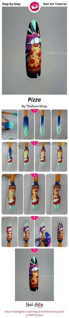Pizza by TheRawrShop - Nail Art Gallery Step-by-Step Tutorials nailartgallery.nailsmag.com by Nails Magazine www.nailsmag.com #nailart