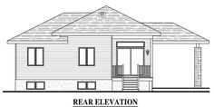 House Plan 50334 - Contemporary Style House Plan with 1223 Sq Ft, 3 Bed, 1 Bath, 1 Car Garage Contemporary Style Homes, Contemporary House Plans, Car Garage, Baths, Floor Plans, House Design, How To Plan, Projects, Log Projects