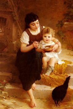La Grande Soeur by Emile Munier (Big Sister), Oil on canvas