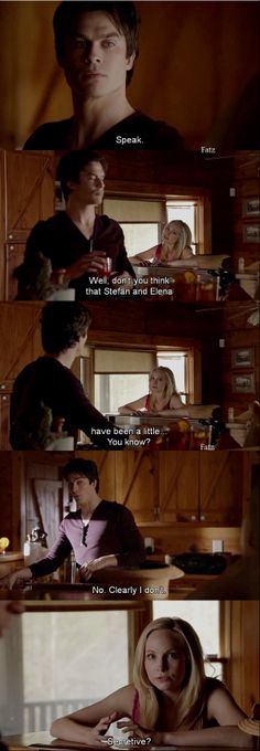 Damon and Caroline  - What Lies Beneath - 5-20.....I have a hunch that caroline has quite the crush on stefan, but i could be wrong