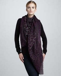 Animal-Print Extra-Large Scarf, Amethyst by Yves Saint Laurent at Neiman Marcus.