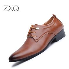 Great Buy $19.60, Buy New 2017 Men Business Formal Dress Shoes Oxford Men Leather Shoes Lace-Up Pointed Toe British Style Men Shoes Brown Black