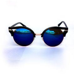 Retro Half Horn Rimmed Mirror Lens Sunglasses (Blue)
