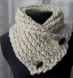 Short Scarf with Buttons Wheat/Cream Buttoned by remixedbyjacki, $29.00