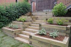 Planter / stairs to the backyard ., Planter / stairs to the backyard . Sloped Backyard Landscaping, Backyard Planters, Landscaping Retaining Walls, Sloped Garden, Backyard Patio, Terraced Backyard, Landscaping Trees, Hillside Garden, Terrace Garden