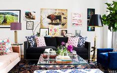 cococozy+vogue+NYC+apartment+madeline+weinrib+throw+pillows+charcoal+gray+velvet+sofa+nailhead+trim+ikat+bench+glass+metal+table+brass+floor+lamp+art.jpg 640×404 pixels