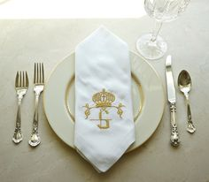 Monogrammed Embroidered Crown Dinner Napkins, table linens, wedding napkins, hostess gift,  home decor, entertaining, wedding gift - FIND MORE HOME & BRIDAL LINENS BY CLICKING THE PHOTO ABOVE!