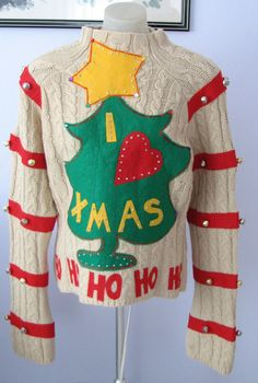 Grinch Ugly Christmas Sweater As seen in the by MotherFrakers Ugly Sweater Day, Ugly Sweater Contest, Tacky Christmas Sweater, Xmas Sweaters, Christmas Fashion, Christmas Clothing, Christmas Sewing, Christmas Costumes, Christmas Outfits
