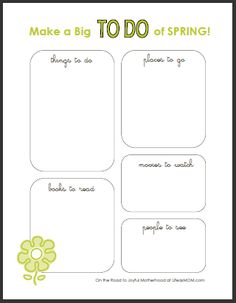 """Spring Bucket List Printable.. with a list of ideas.  Great site!  """"The days are long, but the years are, indeed, short. Make the most of your time with your peeps."""""""