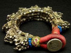 "Old silver ""spike"" flexible bracelet, Afghanistan"
