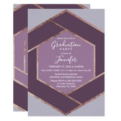 Violet Lilac Purple Rose Gold Hexagon Graduation Card - graduation party invitations card cards cyo grad celebration