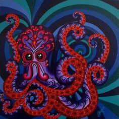 O Polvo Pensativo.  (Série Criaturas Marinhas #2) Acrílico sobre tela.  70x70 cm.  Copyright Taís Britto.  The Thinking Octopus.   (Sea Creatures Series #2) Acrylic on canvas. 28x28 inches.