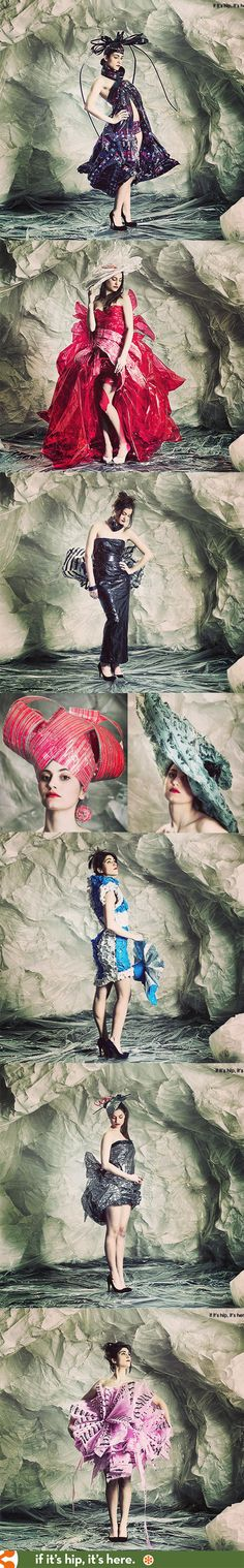A different type of packaging - Adhesive Tape turned into couture fashions! More at the link. PD