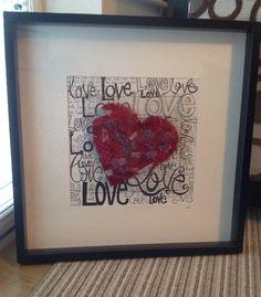 Framed Valentine fused glass heart - S.Walsh, Sarah & Marts Art, Feb 2014