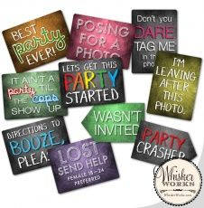 "UPDATED! Designed with a lively high school or college reunion in mind, these plastic double-sided signs will be a hit in your photo booth! Each sign measures approximately 7"" x 10"" and is made of thick, high-quality flexible plastic with a matte finish to reduce glare. There are 5 signs to choose from, each displaying two phrases: Option 1) Wish you were hereFriends Forever Option 2) Did we date?I don't recognize anyone Option 3)Some things never changeStill a kid at heart Option 4)I'm at…"