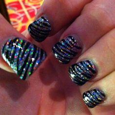 Black Silver Stripe Sparkle