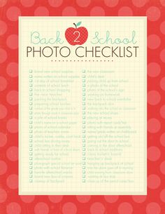 Printable list of Back to School photo ideas and photography prompts to help you document your child's school year in photos.