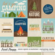 Once Upon A Summer: Camping Cards #digitalscrapbooking #journalcards #pocketlife