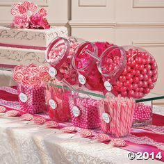 This bulk candy assortment has all you need to create a classic candy buffet. This pink candy buffet assortment makes a wonderful addition to birthday parties, pink ribbon events, bachelorette parties and baby girl baby showers! Pink Candy Buffet, Candy Buffet Tables, Pink Dessert Tables, Pink Desserts, Dedication Ideas, Baby Dedication, Sweet 16 Parties, Pink Parties, Bonbons Baby Shower