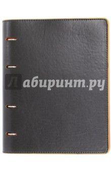Тетрадь (80 листов, на кольцах, клетка, Черная Оранжевая) (36088-10)