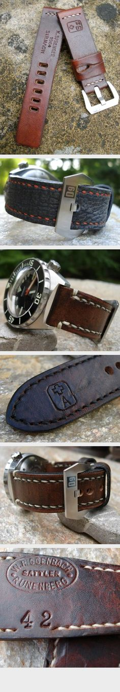 Dangerous9 Straps is a Munich-based custom strap maker founded by John Glance in 2010—specializing in hand-crafted watch straps for brands such as Bell & Ross, Panerai and Breitling among many others. He also uses vintage leather from repurposed Swiss and German Army Courier bags, creating true one-of-a-kind pieces.