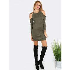 High Neck Sleeved Cold Shoulder Dress OLIVE ($23) ❤ liked on Polyvore featuring dresses, green, olive dress, army green dress, green suede dress, open shoulder dress and suede dresses