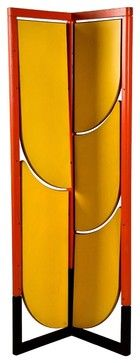 room divider has yellow lacquered shelves that tilt out. It's sort of a screen-meets-bookshelf. Designed by Gaetano Pesce in 1982