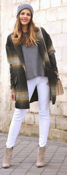 Grey Shades - Wrap Only Oversized Boxes Coat with Skinny Jeans in White and Coffee Booties / TrendyTaste