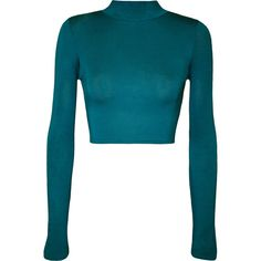 WearAll Basic Long Sleeve Turtleneck Crop Top ($11) ❤ liked on Polyvore featuring tops, teal, cropped turtleneck, turtleneck top, turtleneck crop tops, blue crop top and turtle neck top