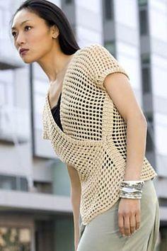 Ravelry: Tokyo Vest pattern by Doris Chan - free pattern for tunisian crochet vest Crochet Diy, Crochet Jacket, Crochet Woman, Crochet Cardigan, Crochet Gratis, Crochet Sweaters, Crochet Tops, Tunisian Crochet Stitches, Vest Pattern