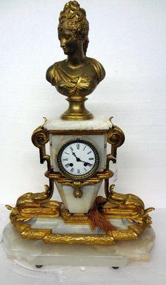 Dore Bronze & Onyx Figural Marble Mantle Clock