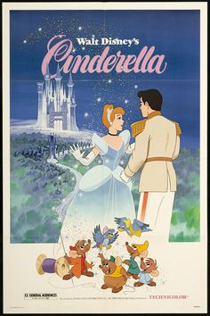 Animated Pictures from the Cartoon Cinderella from Walt Disney Studios. Disney Vintage, Vintage Disney Posters, Retro Disney, Vintage Cartoon, Vintage Movies, Disney Love, Vintage Disney Princess, Vintage Horror, Poster Vintage