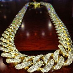 """Solid 14K Yellow Gold Diamond Set 38"""" Authentic Miami Cuban Curb Link Chain 16mm, $248 995.00"""