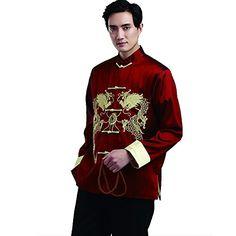 YueLian Women Chinese Tang Suit Top Coat Jacket Wine Red