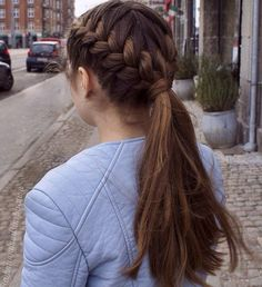 two french three-strand braid into ponytail