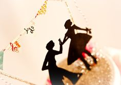 i do Bunting Silhouette Wedding Topper by OvertheTopStudios, $69.00