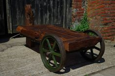 Oak Table 16th Century beam with antique industrial ironwork. With secret compartments