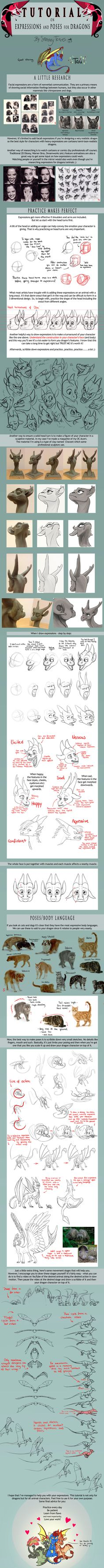 TUTORIAL: Expressions and Poses for Dragons by SammyTorres.deviantart.com on @deviantART