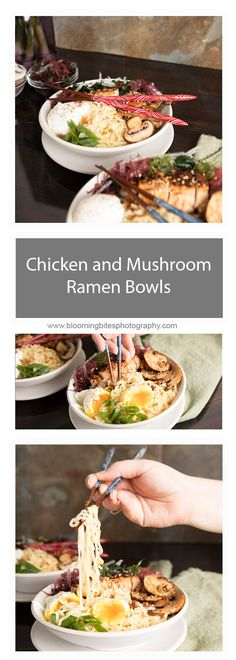 Chicken and Mushroom Ramen Bowls - Ramen bowls are on the rage, and this homemade recipe is loaded with all the best ingredients making it feel like your at a sit down ramen restaurant.