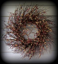 """Teal,Burnt Red,Mustard Colored Pip Berry Wreath - 18"""" Twig Base-New-Primitive"""