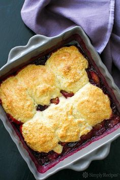Plum Cobbler ~ Easy and delicious classic plum cobbler, using Santa Rosa plums, topped with a biscuity cobbler topping. ~ SimplyRecipes.com