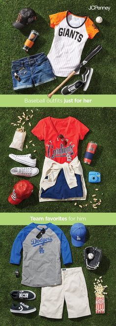 Baseball season outfits are so fun and easy to put together, and the Sports Fan Shop at JCPenney has all the goods. First grab a comfy pair of shoes like Converse or Vans. Then add jean shorts or casual shorts that fit your style. Show your spirit with your favorite baseball team t-shirt and top off the look with a baseball hat for that casual game day uniform.