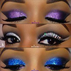 Makeup. Blue. Purple. Silver. Glitter. Glamour.
