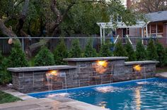 Sheer decent feature, by Planit Green Landscapes - swimming pool by Tropical Pools & Spas, Ancaster, ON