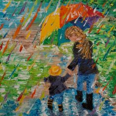 """10""""x10"""", """"Puddle Jumping (no.1)"""", Oil on Canvas. One of my favorite things to do! Previously SOLD Palette Knife Painting; Colors of Cynthia Christine"""