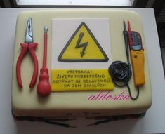 Cake For Electrician Inscription: Warning! Do not touch the guest of honoree, who fell to the floor, it's dangerous. The Effective Pictures We Offer You About Cake Design easy A quality picture can te Fancy Cakes, Mini Cakes, 60th Birthday Cake For Men, Engineering Cake, Fondant Dog, Little Mermaid Cakes, Graduation Party Centerpieces, Retirement Cakes, Tool Cake
