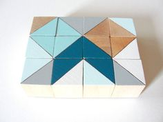 12 Color Block Magnets - Hand Painted Wood Blocks in COPENHAGEN SET (Teal, Aqua, Gray) - Geometric, Triangles, Color Block