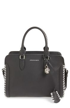 Alexander McQueen 'Small Padlock' Whipstitched Calfskin Leather Satchel