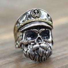 Herren Sterling Silber Old Captain Skull Ring - Rings - Ringe Diamanten Sterling Silver Jewelry, Silver Rings, 925 Silver, Opal Rings, Hammered Silver, Harley Davidson Jewelry, Skull Jewelry, Skull Rings, Gothic Jewelry