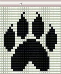 Wolf paw pattern for loom. Seed Bead Patterns, Peyote Patterns, Beading Patterns, Cross Stitch Designs, Cross Stitch Patterns, Pixel Art, Wolf Paw, Motifs Perler, Bead Loom Bracelets